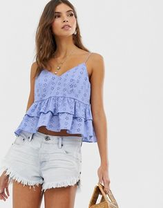 Browse online for the newest ASOS DESIGN crop ruffle cami in broderie sun top styles. Shop easier with ASOS' multiple payments and return options (Ts&Cs apply). Asos, Spring Outfits Women, Summer Outfits, Casual Skirt Outfits, Cute Outfits, Looks Hippie, Mesh Tops, Jolie Lingerie, Look Boho