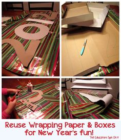 Create a New Year's Sign with recycled boxes and wrapping paper from The Educators' Spin On It
