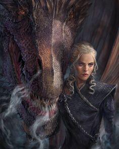 Daenerys Targaryen - Game of Thrones Dessin Game Of Thrones, Arte Game Of Thrones, Game Of Thrones Artwork, Game Of Thrones Dragons, Got Dragons, Game Of Thrones Fans, Mother Of Dragons, Emilia Clarke Daenerys, Fantasy Creatures