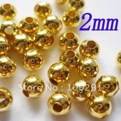 Free ship!!! 5000pcs/lot 2mm gold plated smooth round metal spacer beads Accessories Findings $21.06