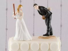 Bride holding baseball bat, groom about to pitch Dog Cake Topper, Custom Cake Toppers, Wedding Cake Toppers, Baseball Wedding Cakes, Grooms Table, Acrylic Cake Topper, Rustic Cake, Colorful Cakes, Floral Cake