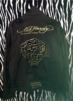 Vintage Ed Hardy by Christian Audigier Gold Tiger Jacket Ed Hardy Tattoos, Vintage Designer Clothing, Christian Audigier, Velvet Jacket, Black Cotton, Hip Hop, Vintage Outfits, Mens Tops, Gold