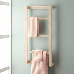 Wulan Teak Hanging Towel Rack - Whitewash
