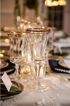 Gold ribbed wine and water glasses