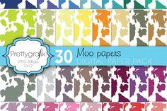 cow print animal print digital paper by Prettygrafik Design on @creativemarket