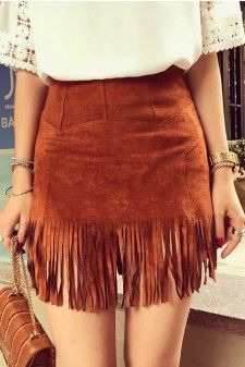 Faux Suede Fringe Mini Skirt 01574
