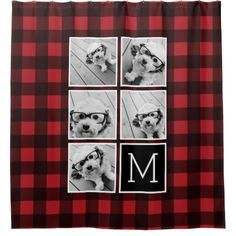 Shop Photo Collage - Monogram Red Black Buffalo Plaid Shower Curtain created by MarshEnterprises. Personalize it with photos & text or purchase as is! Plaid Shower Curtain, Custom Shower Curtains, Buffalo Check Christmas Decor, Instagram Square, Hipster Photography, Square Photos, Photo Wall Collage, Buffalo Plaid, Personalized Gifts