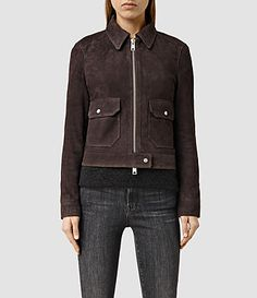 Womens Orton Suede Jacket (Dark Brown) - product_image_alt_text_1