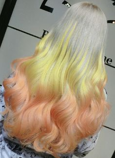 Yellow orange ombre dyed hair color