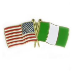 """USA and Nigeria Flag Pin. 1-1/8"""" W x 1/2"""" H. Gold plated with soft enamel colors. $3.95"""