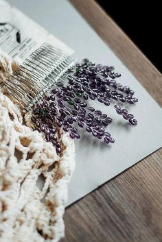 Wedding hair comb, Wedding hair piece, Bridal hair comb, Bridal hair accessories, Flower haircomb wedding, Lavender haircomb Stunning nature-inspired haircomb in shape of lavender flowers will brings a mood of sunny Provence. Beautiful twigs of lavender seems to grow from the comb and look