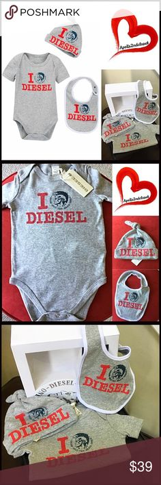 ⭐️ DIESEL 3 Piece Gift Box Set Bodysuit Hat Bib 💟NEW WITH TAGS💟   DIESEL 3 Piece Box Set - Bodysuit, Hat & Bib   ***Gift Box Included   * Super soft & comfortable   * Scoop neck   * Bottom snap closures   * Short sleeves   * Front graphic & ribbed trim   * Machine wash   Fabric: 100% cotton  Color: Grey, Red Item#:   🚫No Trades🚫 ✅ Offers Considered ✅ Key search words # Diesel Matching Sets