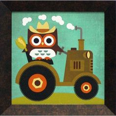 Artistic Reflections Owl on Tractor by Lee, Nancy Framed Graphic Art