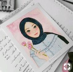 Things to try Girl Cartoon, Cute Cartoon, Cartoon Art, Girl Drawing Sketches, Girly Drawings, Hijab Drawing, Arte Indie, Islamic Cartoon, Anime Muslim