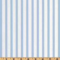 This cotton blend 1/4'' striped fabric is perfect for everything from apparel such as dresses, shirts and skirts to quilting or home décor window treatments, dust ruffles, toss pillows and more! Colors include light blue and white.