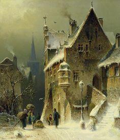 Schlieker Art Print featuring the painting A Small Town In The Rhine by August Schlieker Winter Landscape, Landscape Art, Landscape Paintings, Illustration Art, Illustrations, Art Watercolor, Art Sculpture, Wow Art, Winter Art