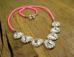 pave necklace with bright pink!