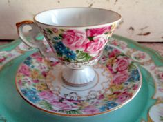Vintage Teacup and saucer Pink Habby Roses by Holliezhobbiez, $12.50