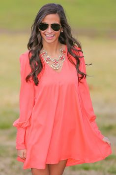 Waiting For Sunrise Tunic-Hot Coral - Dresses