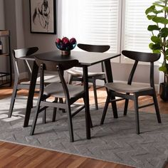 5pc Britte Fabric Upholstered Wood Dining Set Beige/Dark Brown - Baxton Studio : Target 4 Dining Chairs, Dining Room Sets, Dining Room Table, Solid Wood Dining Set, 5 Piece Dining Set, Mid Century Modern Lighting, Table Dimensions, Table And Chair Sets, Best Dining