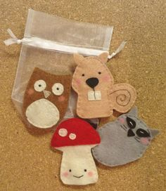 Special Order for Natalie - Woodland Finger Puppet Set Felt Puppets, Felt Finger Puppets, Hand Puppets, Felt Crafts, Fabric Crafts, Sewing Crafts, Diy Crafts For Girls, Diy For Kids, Finger Puppet Patterns