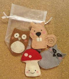 Special Order for Natalie - Woodland Finger Puppet Set Felt Puppets, Felt Finger Puppets, Hand Puppets, Diy Crafts For Girls, Diy For Kids, Felt Stories, Puppet Making, Operation Christmas Child, Homemade Toys