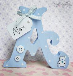 Made by CraftGallery... https://www.facebook.com/CraftGalleryPersonalisedGifts Handmade Personalised Freestanding letter in blue, Handmade letter, keepsake, personalise gift, personalised decorations, home decor