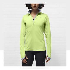Nike Element Half-Zip Women's Running Top in barely volt/wolf grey size small