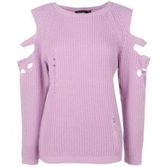 Boohoo Anna Distressed Cold Shoulder Jumper   Boohoo ($19) ❤ liked on Polyvore featuring tops, sweaters, chunky sweater, nordic sweater, sequin top, pink turtleneck and ripped sweaters