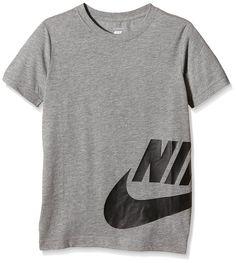 Nike Wrap Around Logo - T-shirt - Garçon, Gris (Dark Grey Heather), 9-10 ans (taille fabricant:8-10 ans) amazon