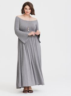 6c257e197f00 Grey Off Shoulder Jersey Maxi Dress. Torrid. Shorts InseamBell ...