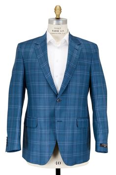 Coppley - Teal Plaid Wool Sportcoat | Mitchell Stores