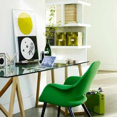 Emerald green room. This delightful little office space pops with a bold chair.