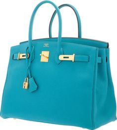 Hermes 35cm Turquoise Togo Leather Birkin Bag with Gold Hardware