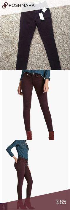 NWT Lucky Brand Sasha Super Skinny jeans New with tags, amazingly soft and flattering Lucky Brand ankle jeans. Deep wine color, new. Size 27/4. Lucky Brand Jeans Skinny