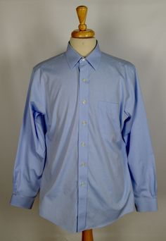 Brooks Brothers Non-Iron Men's 16 35 Solid Blue Long Sleeve Button Dress Shirt #BrooksBrothers