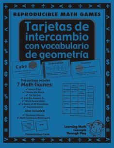 Geometria - Trajetas De Intercambio - 26 pages -   This 26-page unit has essential math vocabulary to build a foundation of math understanding. Use whole class, with second language learners or struggling math students. Fun way for students to meet the Common Core Standards!