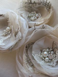 Wedding hair accessory burlap hairpiece clipset 3 sash belt Flower Vintage Rustic. Love!