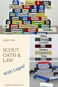 Use Legos to help Cub Scouts learn the Scout Oath and Law! Easily create puzzles using Legos and a labeler that are useful for several different games.