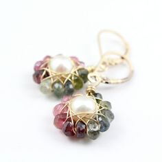 Tourmaline and Pearl Flower Earrings in Gold by SDJewelry on Etsy, $54.00