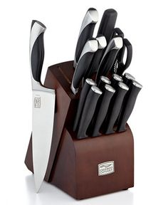 Chicago Cutlery Fullerton, 16 Piece Set - This professional set raises your kitchen to a whole new level of excellence with stainless steel blades that feature exclusive Taper Grind™ edges, which slide effortlessly through food & boast incredible sharpness retention. #ChicagoCutlery