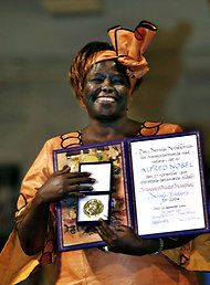 wangari maathai • founder of the green belt movement, mother, environmentalist, professor, feminist, politician, anticorruption campaigner, human rights advocate, protester and the first kenyan, first african woman and first environmentalist to win a nobel peace prize • RIP