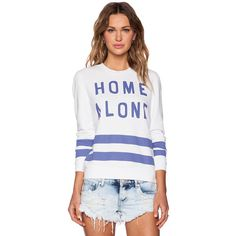 Zoe Karssen Home Alone Loose Fit Sweatshirt Loungewear ($57) ❤ liked on Polyvore featuring tops, hoodies, sweatshirts, sweatshirts & hoodies, sweat shirts, white sweat shirt, hoodie sweatshirts, graphic hoodie and hoodie sweat shirt