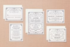 Grand Flourish Letterpress Wedding Invitations