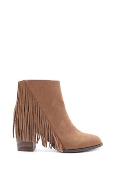 Fringe Faux Suede Booties - jeans, white flowy shirt