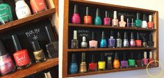 nail polish organizer from old spice rack and chalk board paint