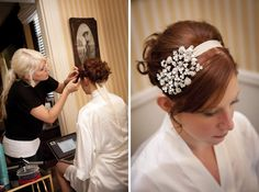 Mrs. Fox's wedding day hair - loose updo with curls and hair piece