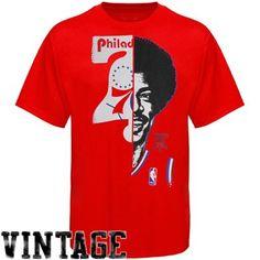 Majestic Julius Erving Philadelphia 76ers Hardwood Classics Game Face T-Shirt - Red