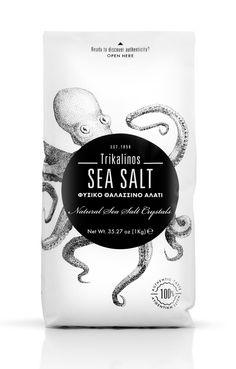 """Trikalinos SEA SALT - a pure taste crystal salt that is harvested from traditional salt pans along the famous """"Salinas"""" in Etoliko – Mesolonghi Lagoon, in Greece. #octopus #beautiful #packaging #design"""