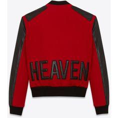 Saint Laurent Heaven Varsity Jacket ($3,780) ❤ liked on Polyvore featuring men's fashion, men's clothing, men's outerwear, men's jackets, outerwear, mens leather sleeve jacket and yves saint laurent mens jacket